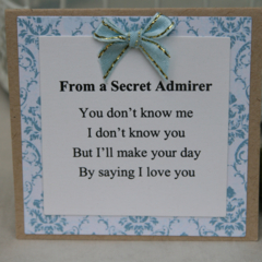 Valentine's Day Card Secret Admirer Gift Card Lover's Card Cute Valentine Card