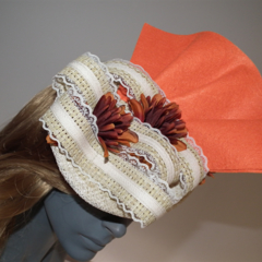 Tangerine Valley.SALE winter  Fascinator Races Hat Orange Cream Sculptural Lace