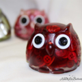 Cute Red Button Owl - Paperweight / Ornament - Solid Button Filled Resin