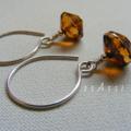 Argentium Sterling Silver range - amber rivoli Czech glass bead earrings