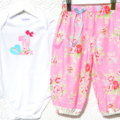 1st Birthday Harem Pants & Onesie Set - Perfectly Pink. winter. summer. party.