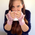 Pink Fingerless Mittens with Flower Detail