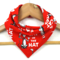Red Cat in the Hat ORGANIC cotton Bandana bib Absorbent with STAY-DRY backing