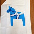 Blue Swedish Dala Horse - hand screen printed tea-towel - Dalarna Dalecarlia