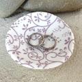 Purple swirls porcelain ring dish. Ring pillow. Candle holder. Ceramic.