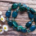 Emerald Green Azurite Chrysocolla & Crystal Bracelet set