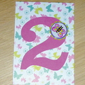 Girls 2nd Happy Birthday card - butterflies  - or any age!