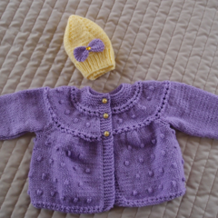 Size 0-6 mths Hand knitted baby jacket / cardigan in purple with yellow beanie