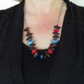 Orange bird bib style statement wood and chain necklace