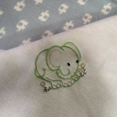 Baby blanket, pram blanket, grey elephants, personalised