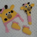 Girl Baby Shower Gift - Giraffe Beanie, Rattle and Booties