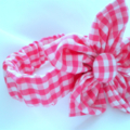 Pink Check Gingham Flower Cuff Ladies Accessory