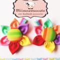 Pair Of Rainbow Fabric Flower clips