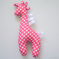 Giraffe Tag Toy Rattle Pink and White Polka Dots