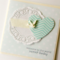 baby boy card bird and paper hot air balloon heart and doily