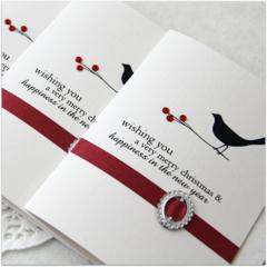 4 Handmade Christmas Cards, Vintage Bird and Holly Ornate Christmas Card