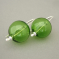 Reserved Listing for Danielle - Green Handblown Glass Bubble Earrings