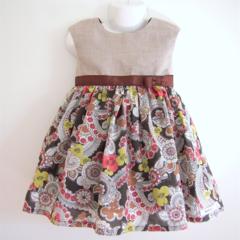 Size2 Paisley Ribbon Dress- khaki