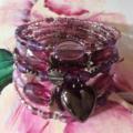 wrap around bracelet plum purple silvertone beads bracelets bangle
