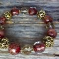 Dark Red, Gold Sand Glass, Bracelet