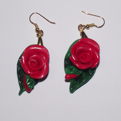 Bright red rose earrings