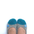 Women's Crochet Slippers -100% Wool - Grey/Your choice toe colour