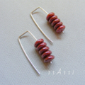 Argentium Sterling Silver range - rustic red Czech glass bead earrings