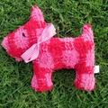 Peppa  Plush Pink Check  Vintage Chenille Scottie Dog