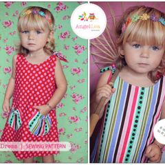 Girls Dress Pattern. PDF Sewing Pattern for Eva Dress, Reversible Tie Top Aline