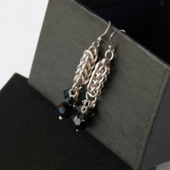 Sterling silver chainmaille earrings black swarovski crystals. Eco friendly.