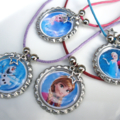 Frozen Bottle Cap Necklaces Set of 8 Party Favors