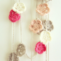 custom | crochet garland | flower nursery room decoration | vintage pretty