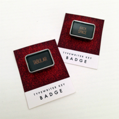 Vintage typewriter-key badge - TABULAR or BACK SPACE key