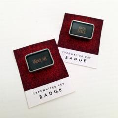 Vintage typewriter-key badge - TABULAR or BACK SPACE key