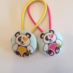 Panda fabric button hairties