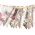 Vintage Style Roses Flag Bunting + Lace. Shabby Chic, Party, Wedding