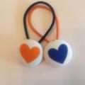 Heart fabric button hairties