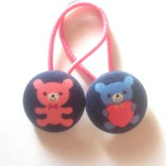 Teddie fabric button hairties