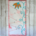 Photo Display Board. Pink, Green and White. Flower. 24x12.