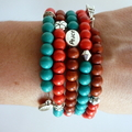 Earth and Sea Magnesite Inspirational Beaded Memory Wire Bracelet