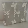 Small Zippered Wet Bag with Waterproof Lining - Grey Giraffe