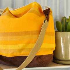 Vintage Cheesecloth & Suede Leather Shoulder Handbag