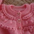 Size 1 (+) years hand knitted cardigan  in pink : OOAK, washable, acrylic, girl