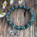 Emerald Gemstone Bead, Elephant Charm Bracelet