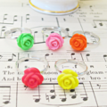 Neon Children's Ring Set Fluorescent Orange Pink Yellow Red Green Flower