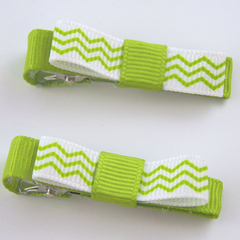 2 Green Chevron Pattern Hair Clips