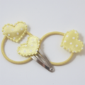 Lemon hearts 3pk baby/ toddler pigtail hair set.