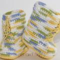 Crocheted Little Combrat Combat Booties. Size 6-12 months