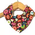 FLOWERS ORGANIC & cotton Bandana bib Absorbent with STAY-DRY backing