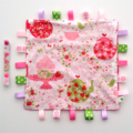 STRAWBERRY TEA PARTY Baby Security Blanket Blankie Taggie Toy +FREE Taggie Saver